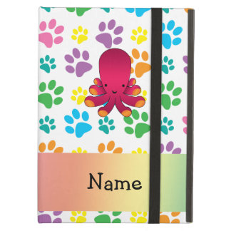 Personalized name octopus rainbow paws iPad cases