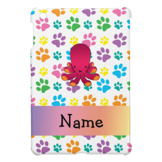 Personalized name octopus rainbow paws iPad mini cases