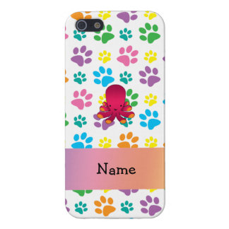 Personalized name octopus rainbow paws iPhone 5 cover