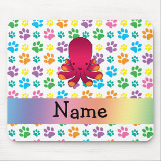 Personalized name octopus rainbow paws mouse pad