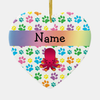 Personalized name octopus rainbow paws Double-Sided heart ceramic christmas ornament