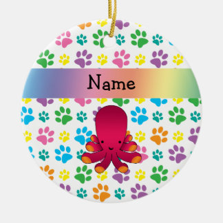 Personalized name octopus rainbow paws Double-Sided ceramic round christmas ornament