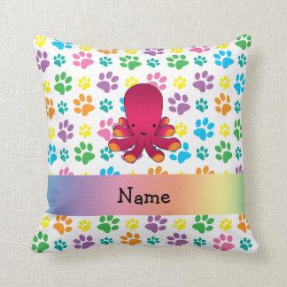 Personalized name octopus rainbow paws throw pillow