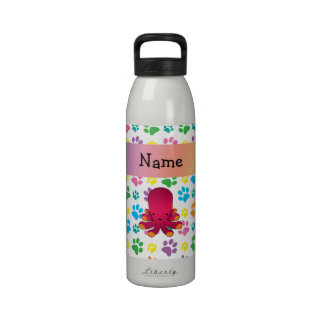 Personalized name octopus rainbow paws drinking bottle