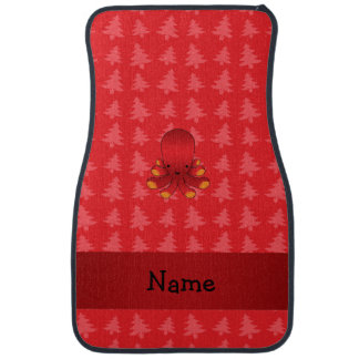 Personalized name octopus red christmas trees car mat