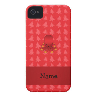 Personalized name octopus red christmas trees iPhone 4 cases