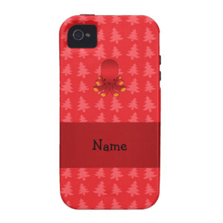 Personalized name octopus red christmas trees iPhone 4/4S case