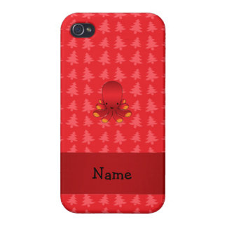 Personalized name octopus red christmas trees iPhone 4/4S cases
