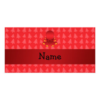 Personalized name octopus red christmas trees photo card