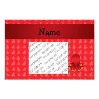Personalized name octopus red christmas trees photo print