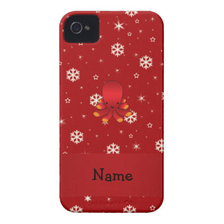 Personalized name octopus red snowflakes iPhone 4 Case-Mate case