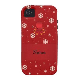Personalized name octopus red snowflakes Case-Mate iPhone 4 cover