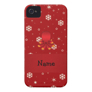 Personalized name octopus red snowflakes Case-Mate iPhone 4 case