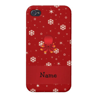Personalized name octopus red snowflakes cases for iPhone 4