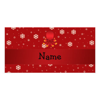 Personalized name octopus red snowflakes photo card