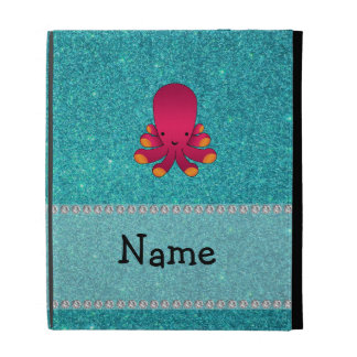 Personalized name octopus turquoise glitter iPad cases
