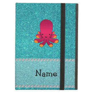 Personalized name octopus turquoise glitter iPad folio case