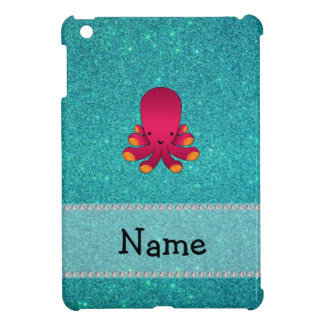 Personalized name octopus turquoise glitter iPad mini cover