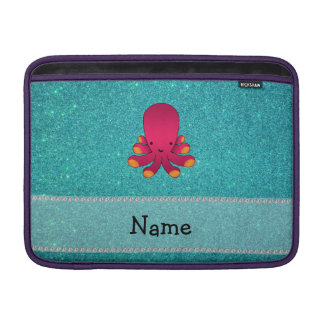 Personalized name octopus turquoise glitter MacBook sleeve