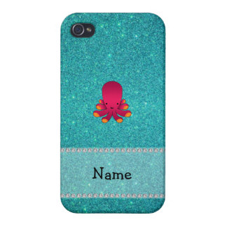 Personalized name octopus turquoise glitter iPhone 4/4S case