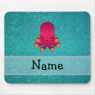Personalized name octopus turquoise glitter mouse pad