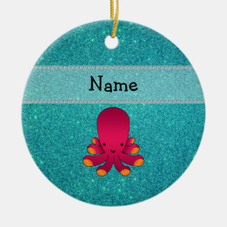 Personalized name octopus turquoise glitter Double-Sided ceramic round christmas ornament