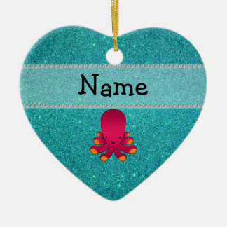 Personalized name octopus turquoise glitter Double-Sided heart ceramic christmas ornament