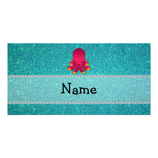 Personalized name octopus turquoise glitter photo card