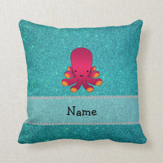 Personalized name octopus turquoise glitter pillows