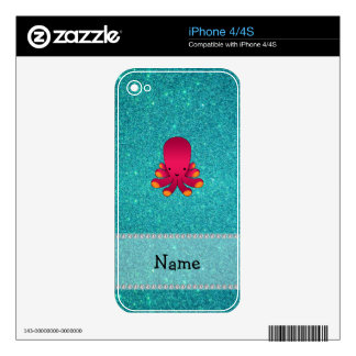 Personalized name octopus turquoise glitter skin for iPhone 4S