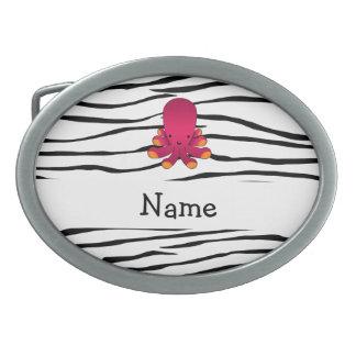 Personalized name octopus zebra stripes oval belt buckle