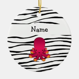 Personalized name octopus zebra stripes Double-Sided ceramic round christmas ornament
