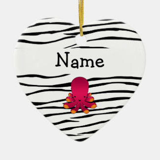 Personalized name octopus zebra stripes Double-Sided heart ceramic christmas ornament
