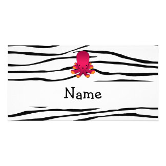 Personalized name octopus zebra stripes photo card