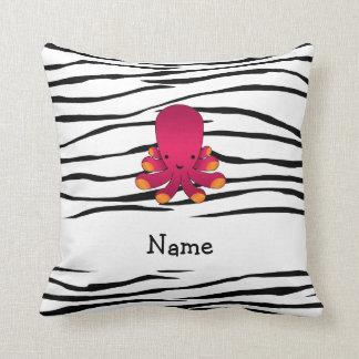 Personalized name octopus zebra stripes throw pillows