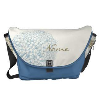 Personalized Name on Hydrangea Messenger Bag