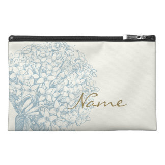 Personalized Name on Hydrangea Travel Accessories Bags