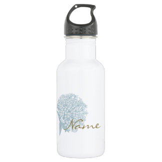 Personalized Name on Hydrangea Water Bottle