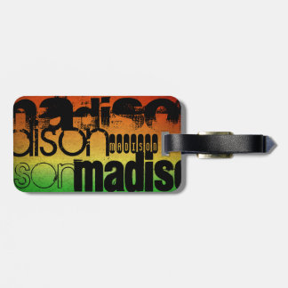 Personalized Name on Neon Orange Yellow & Green Bag Tag