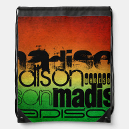 Personalized Name on Neon Orange Yellow & Green Drawstring Backpack