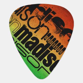 Personalized Name on Neon Orange Yellow & Green Guitar Pick