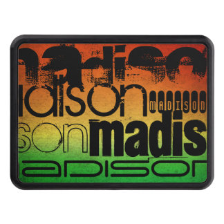 Personalized Name on Neon Orange Yellow & Green Hitch Cover