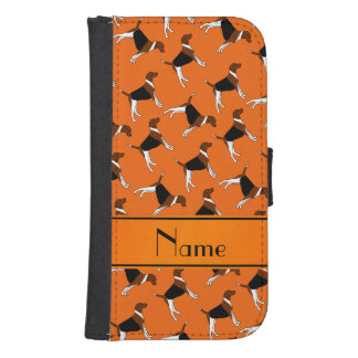 Personalized name orange american foxhound dogs galaxy s4 wallets