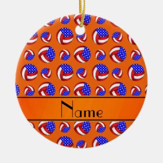 Personalized name orange american volleyballs ceramic ornament