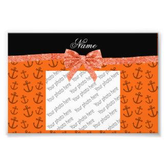 Personalized name orange anchors glitter bow art photo