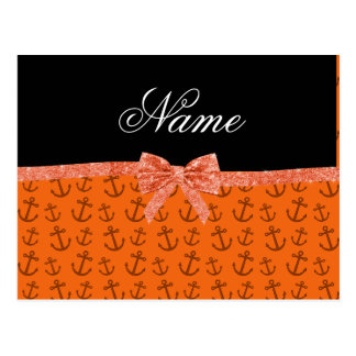 Personalized name orange anchors glitter bow post card