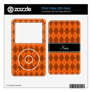 Personalized name Orange argyle pattern iPod Video 5G Decal