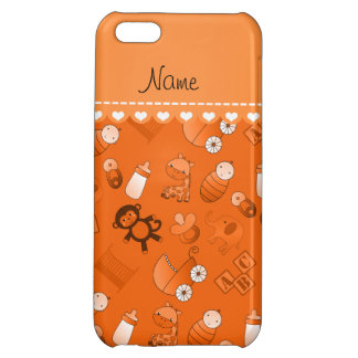 Personalized name orange baby animals case for iPhone 5C