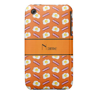 Personalized name orange bacon eggs iPhone 3 Case-Mate case