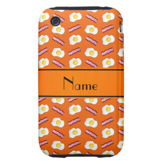 Personalized name orange bacon eggs iPhone 3 tough cover